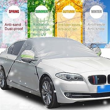 Audew Frontscheibe Auto Sonnenschutz Windschutzscheibe Auto Anti-Schnee Halbgarage Winterschutz Eisschutzfolien mit Spiegel Schutz Zwei Gr/ö/ße