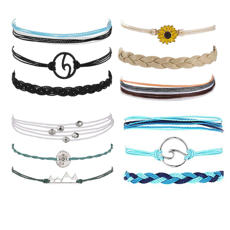 4Pcs Rope Braided Wave Moutain Sunflower Strand Bracelet Set for Women/Men Adjustable Friednship Bohemian Handmade Bracelet Waterproof Jewerly (Set 1) by Joctly