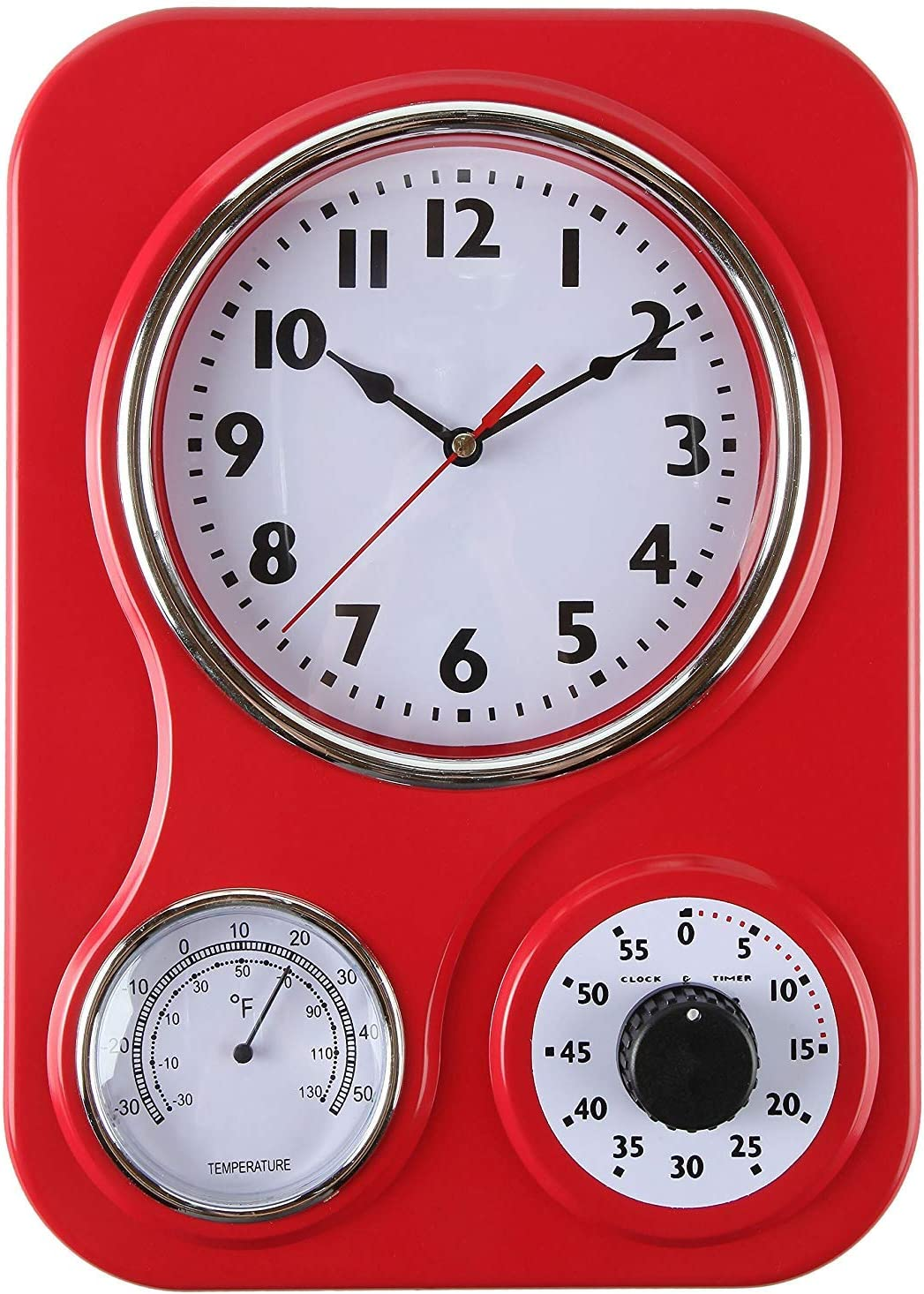 Lily's Home Retro Kitchen Wall Clock, with a Thermometer and 60-Minute Timer, Red (9.5 in x 13.3 in)
