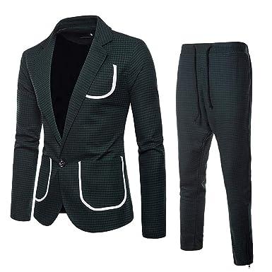 Trajes para Hombre, Moda Slim fit Conjuntos Abrigo y pantalón ...