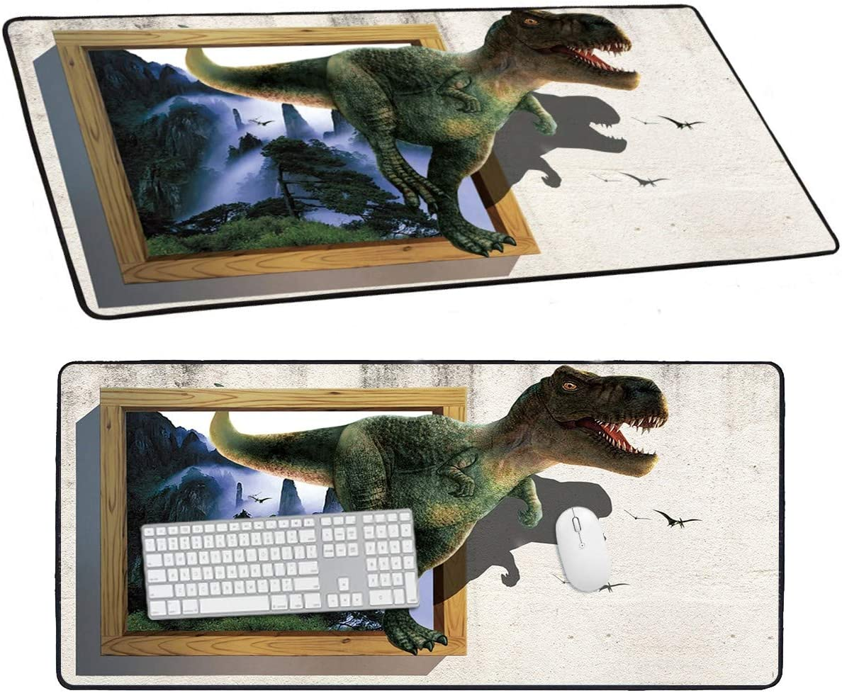 Desk Large Mouse Pad, 3D Dinosaur Pattern Mousepad for Laptop Keyboard, Idea Gift XXL Long Office Gaming Mat 1 Pcs