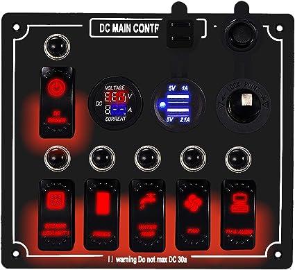 Amazon.com : DCFlat 6/10 Gang Circuit LED Car Marine Waterproof 5 Pin Boat  Rocker Switch Panel with Fuse Dual USB Slot LED Light + Power Socket Breaker  Voltmeter for RV Car Boat :