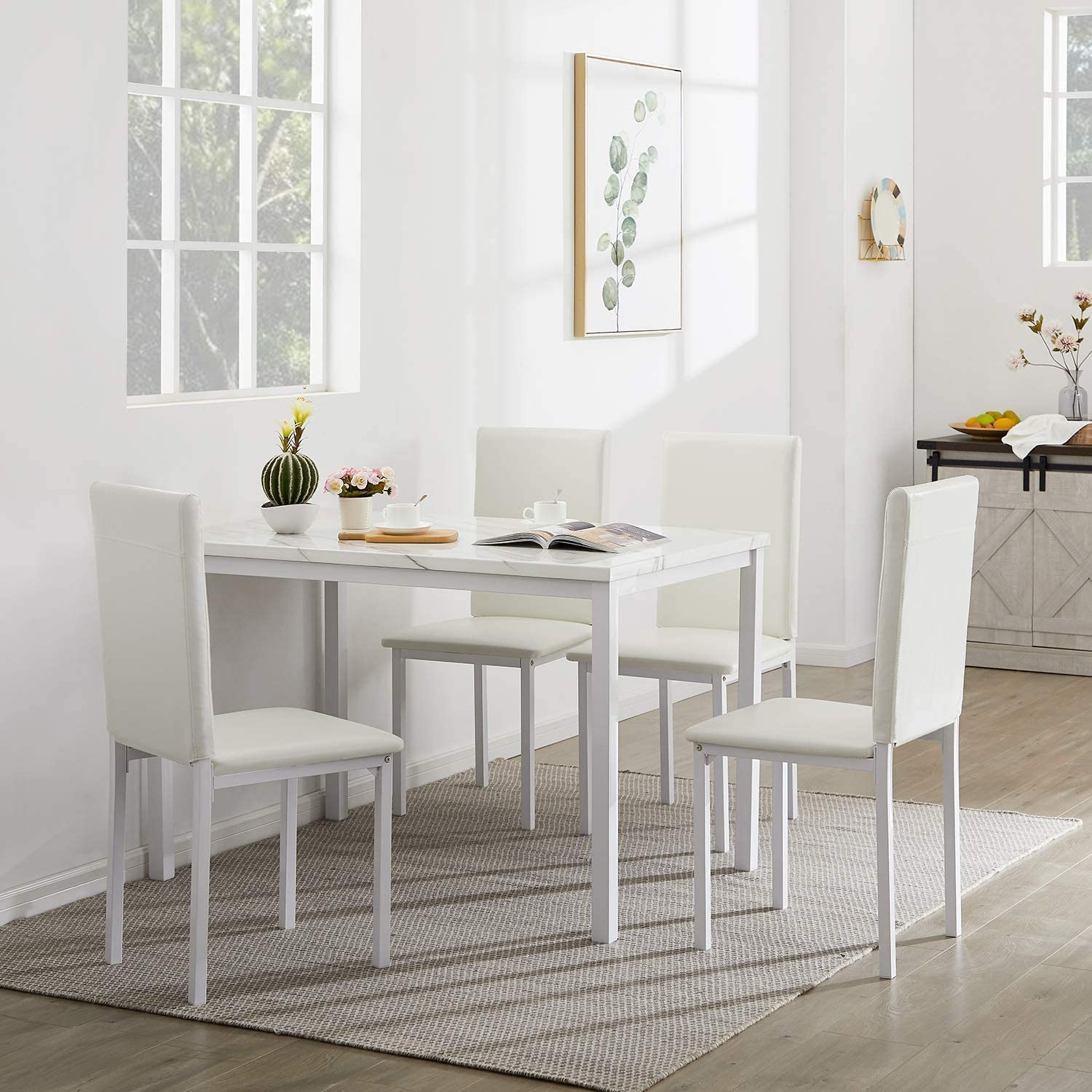 Recaceik 5-Piece Kitchen Table, Faux Marble Dining Set for 4 with Chairs for Small Spaces Living Room Home Furniture, White…