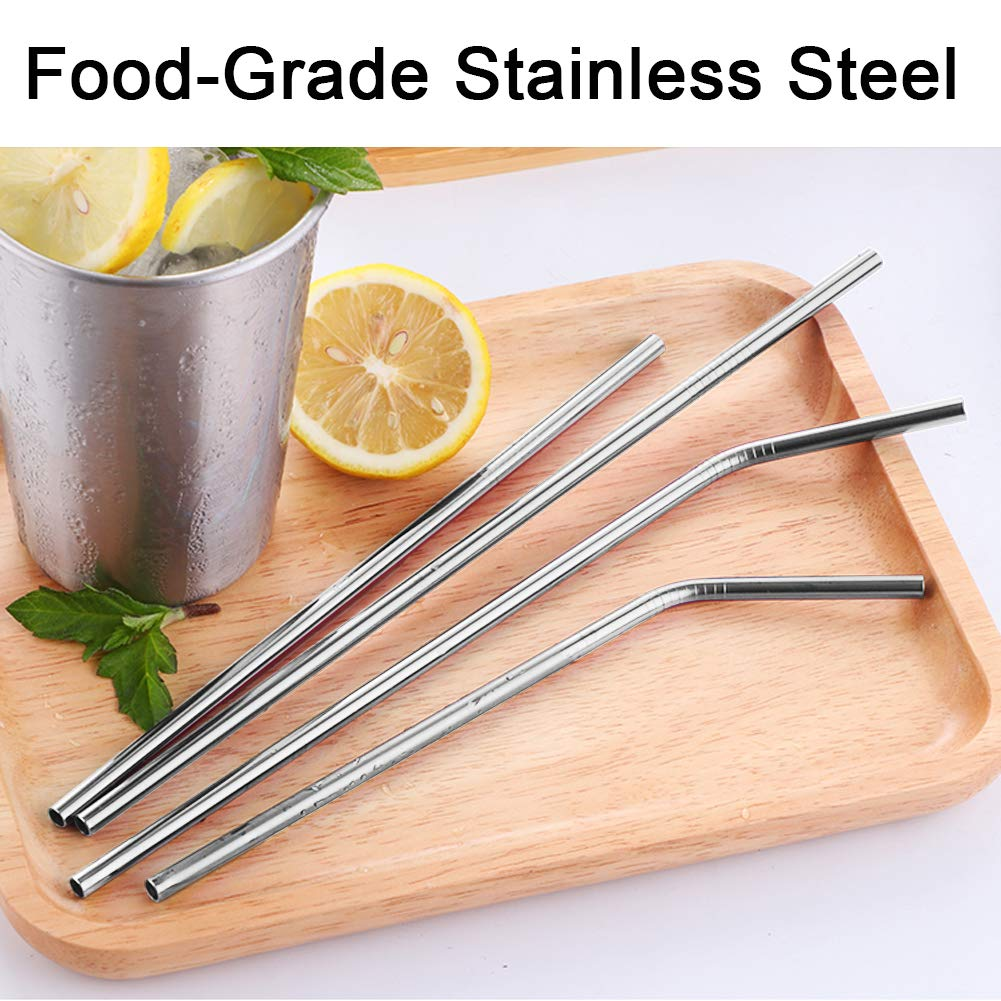 Webetop 6 Stainless Steel Straws with Cleaning Brushes Silicone Cover 3 Bent 3 straight Reusable Metal Drinking Straws for 20oz 30oz Tumbler Yeti Rambler Rtic Ozark Trail