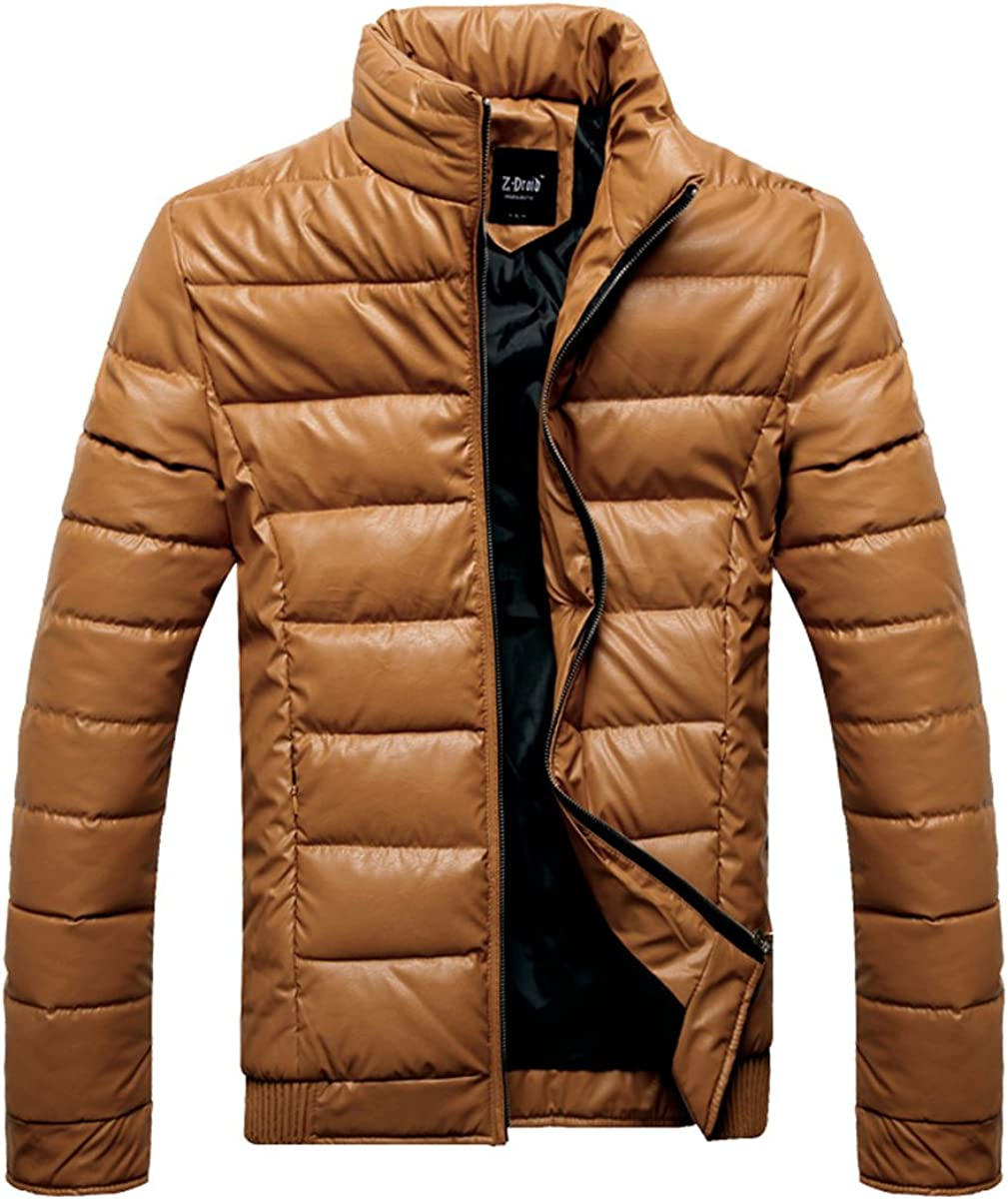 FOURSTEEDS Mens Faux Leather Light Weight Solid Color Zipper Winter Parka Down Jacket Coat