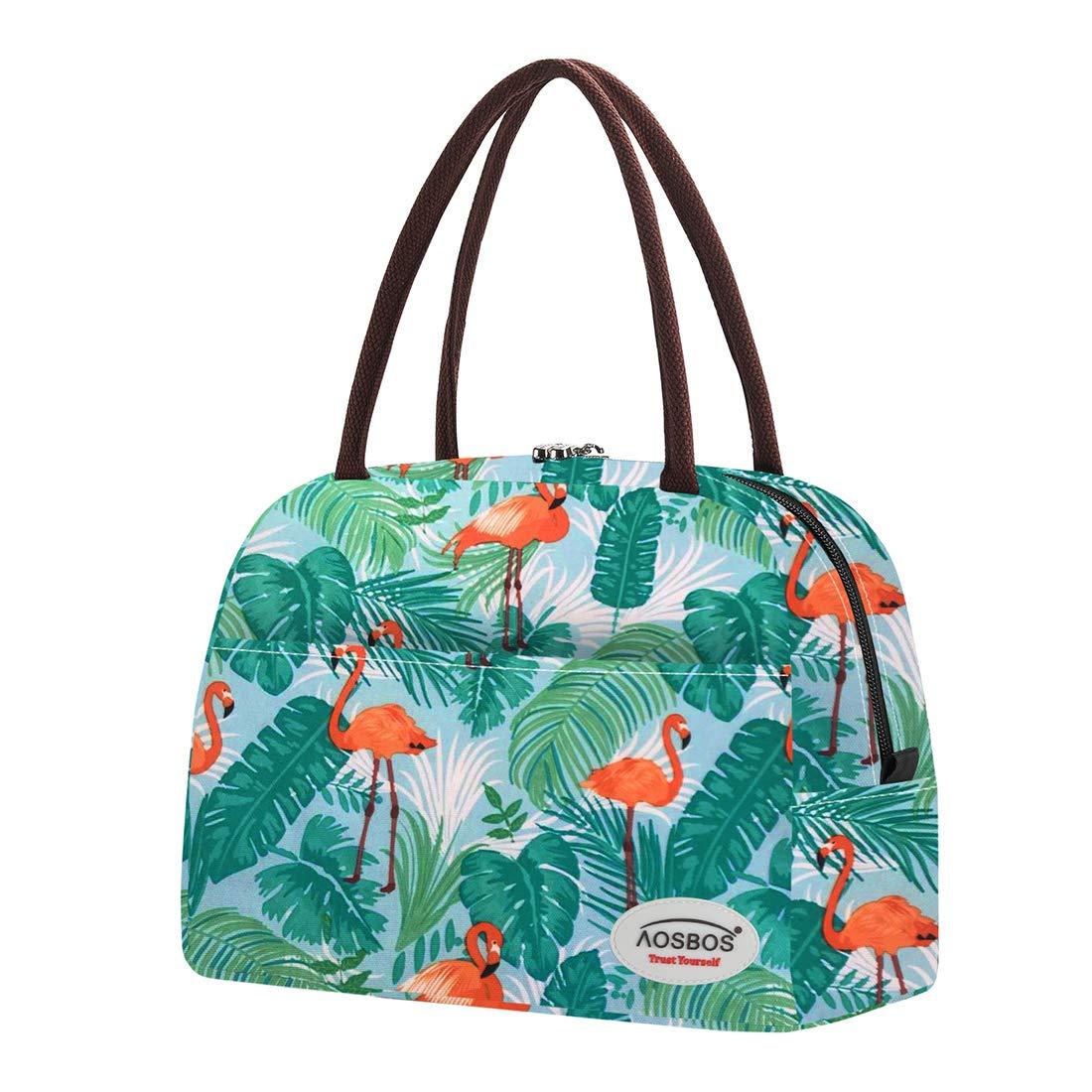 Aosbos Borsa da Pranzo Cool Bag Donna Borsa Termica Portatile Portapranzo per Ufficio Picnic Campeggio