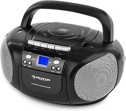 auna BoomBoom Black Edition - Reproductor CD estéreo, Casette, Radio FM, Minicadena , Radiocassette, MP3, Puerto USB, Altavoces Integrados, Portátil, ...