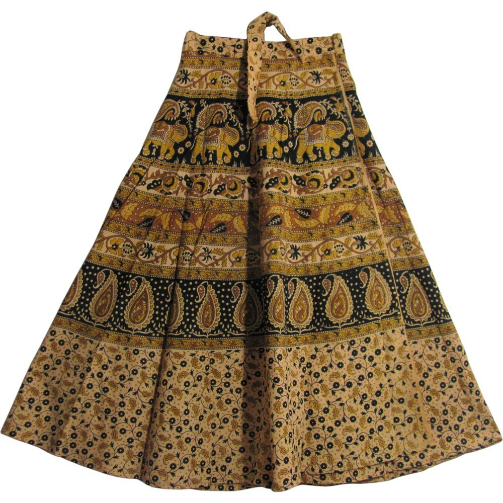 Yoga Trendz Bohemian Indian Ethnic Block Print Cotton Long Maxi Wrap Around Skirt BAGROO (Earth & Gold Tones)