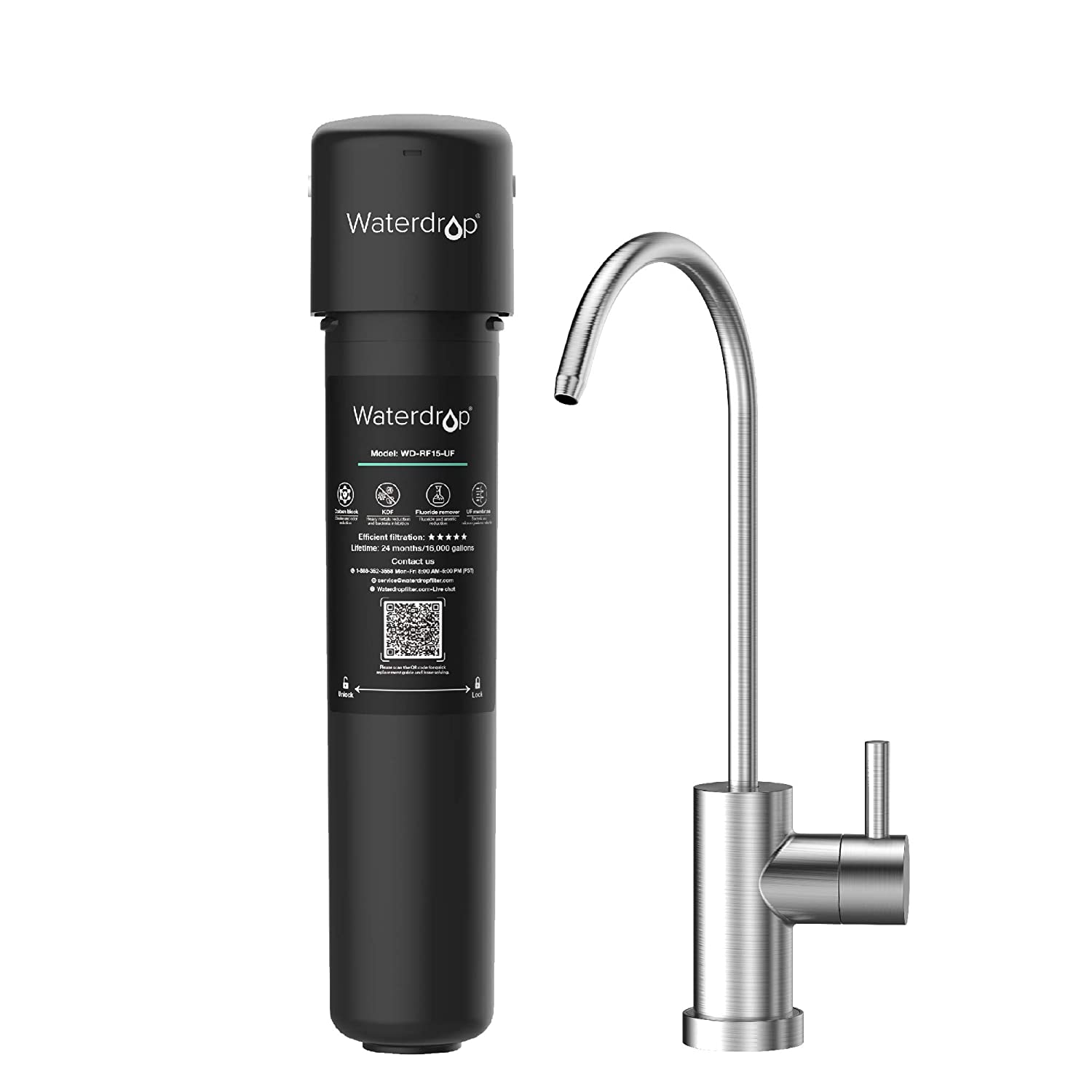 Waterdrop 15UB-UF Under Sink Water Filter System, 0.01 Micron Ultra Filtration Under Counter Drinking Water Filtration System, with Dedicated Brushed Nickel Faucet, 16K High Capacity, USA Tech