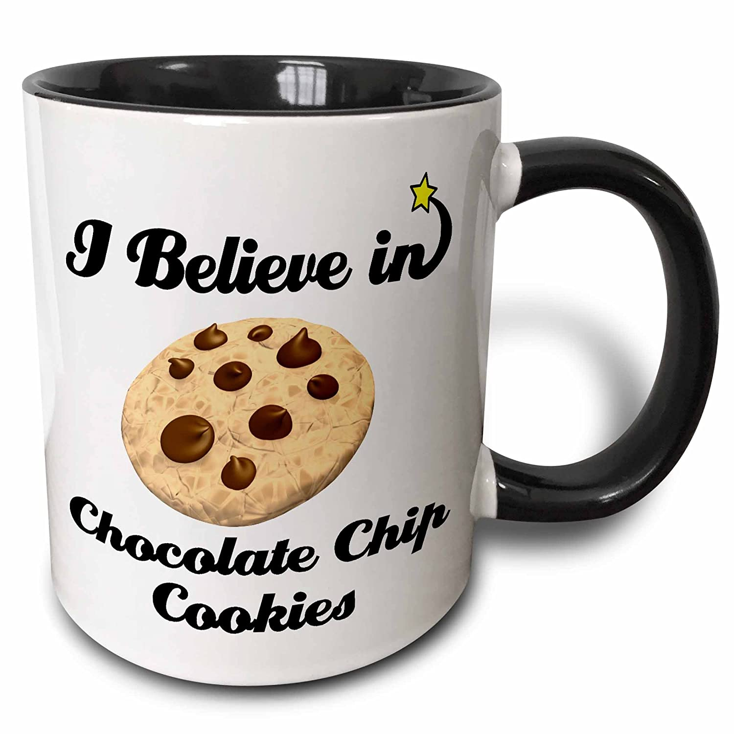 c37895cc9cda 3dRose 105030 4 I I Believe In Chocolate Chip Cookies Ceramic Mug 11oz  Black White