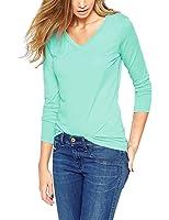 ISASSY Women's Casual Basic V-Neck Long Sleeve Shirt Blouse Tops