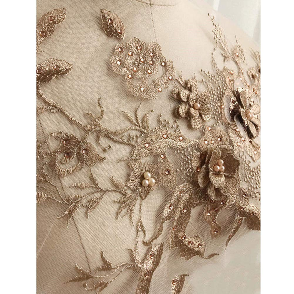Gold Yooha 3D Embroidery Beaded Lace Applique Floral Rhinestone Tulle Patches Trimmings Fabric for DIY Neckline Wedding Bridal Dress Clothes Embroidery Decoration