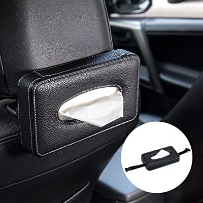 Mr.Ho Luxury Black Leather Car Back Seat Headrest Hanging Tissue Holder Case Mount, Multi-use Car Tissue Paper Holder with One Tissue Refill for Car & Truck Decoration: Automotive