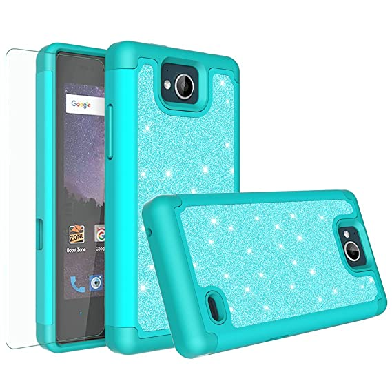 huge discount dbdf6 c2b1d [GALAXY WIRELESS] For ZTE Majesty Pro Case,ZTE Majesty Pro Plus  Case,Glitter Bling Hybrid Case with [HD Screen Protector] Dual Layer  Protective Phone ...