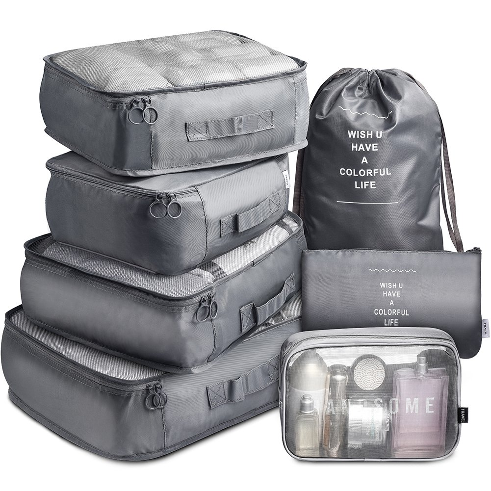 Travel Packing Cubes VAGREEZ 7 Pcs Travel Luggage Organizers Packing Cubes with Laundry Bag and Toiletry Bag by VAGREEZ
