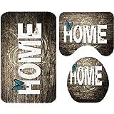 TOPBATHY 3PCS Toilet Mat Set Creative Printed Carpet Anti-slip Floor Mat Door Mat Rugs Carpet for Household Bedroom…