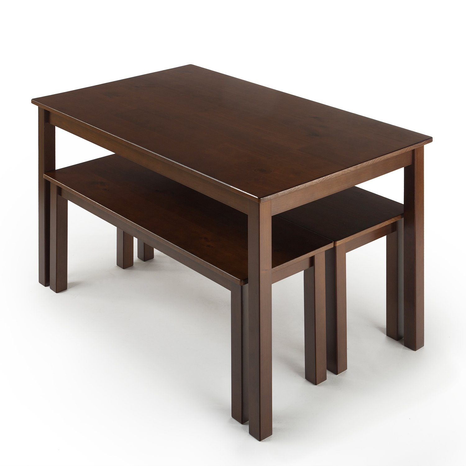 Zinus Juliet Espresso Wood Dining Table With Two Benches 3