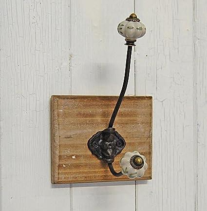 Perchero de pared de madera gancho de metal cerámica botones ...