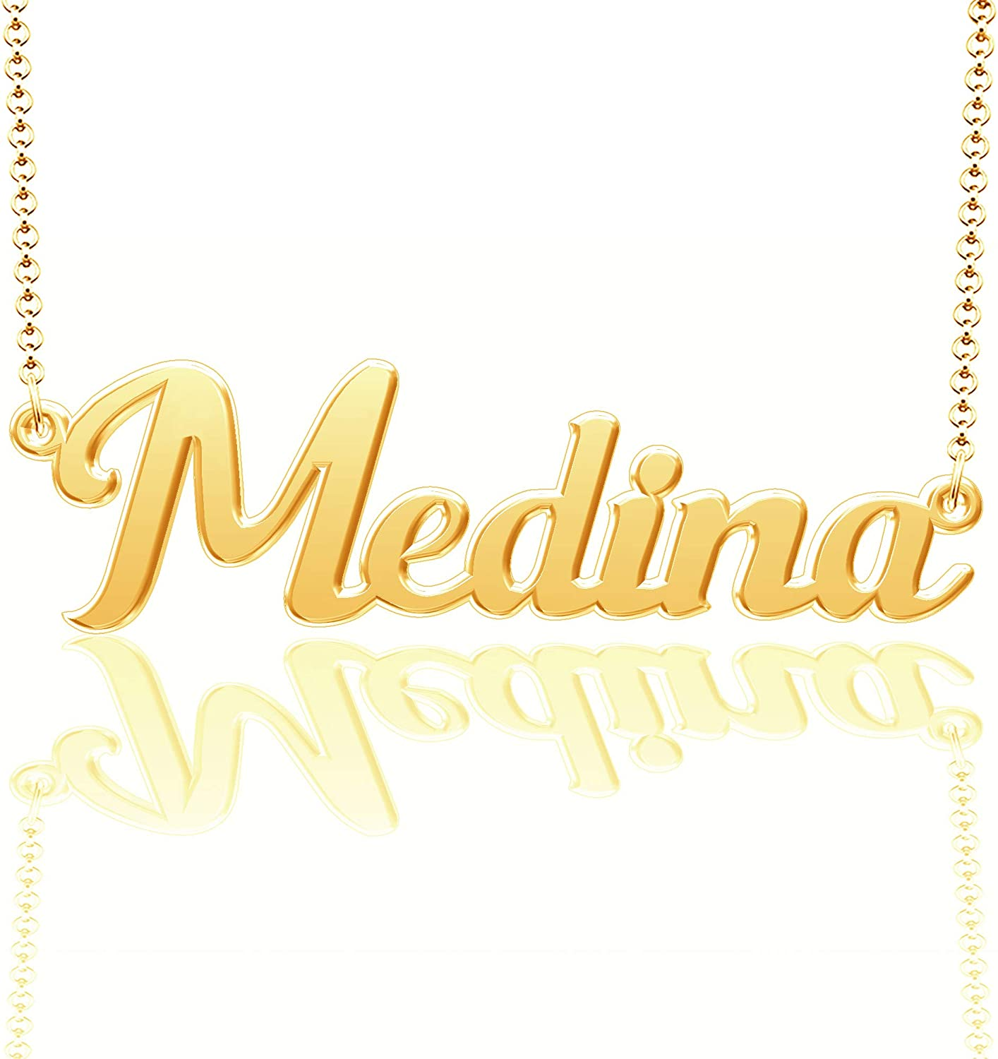 CLY Jewelry Personalized Last Name Necklace Custom Sterling Silver Medina Plate Customized Gift for Family