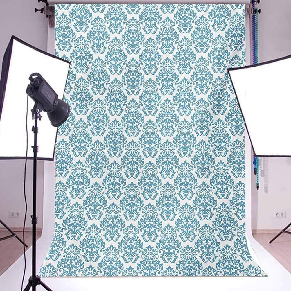 Victorian 10x12 FT Photography Backdrop Vintage Illustration Fabric Design Pattern History Middle Ages Royal Symbol Art Background for Baby Shower Bridal Wedding Studio Photography Pictures Baby Blu