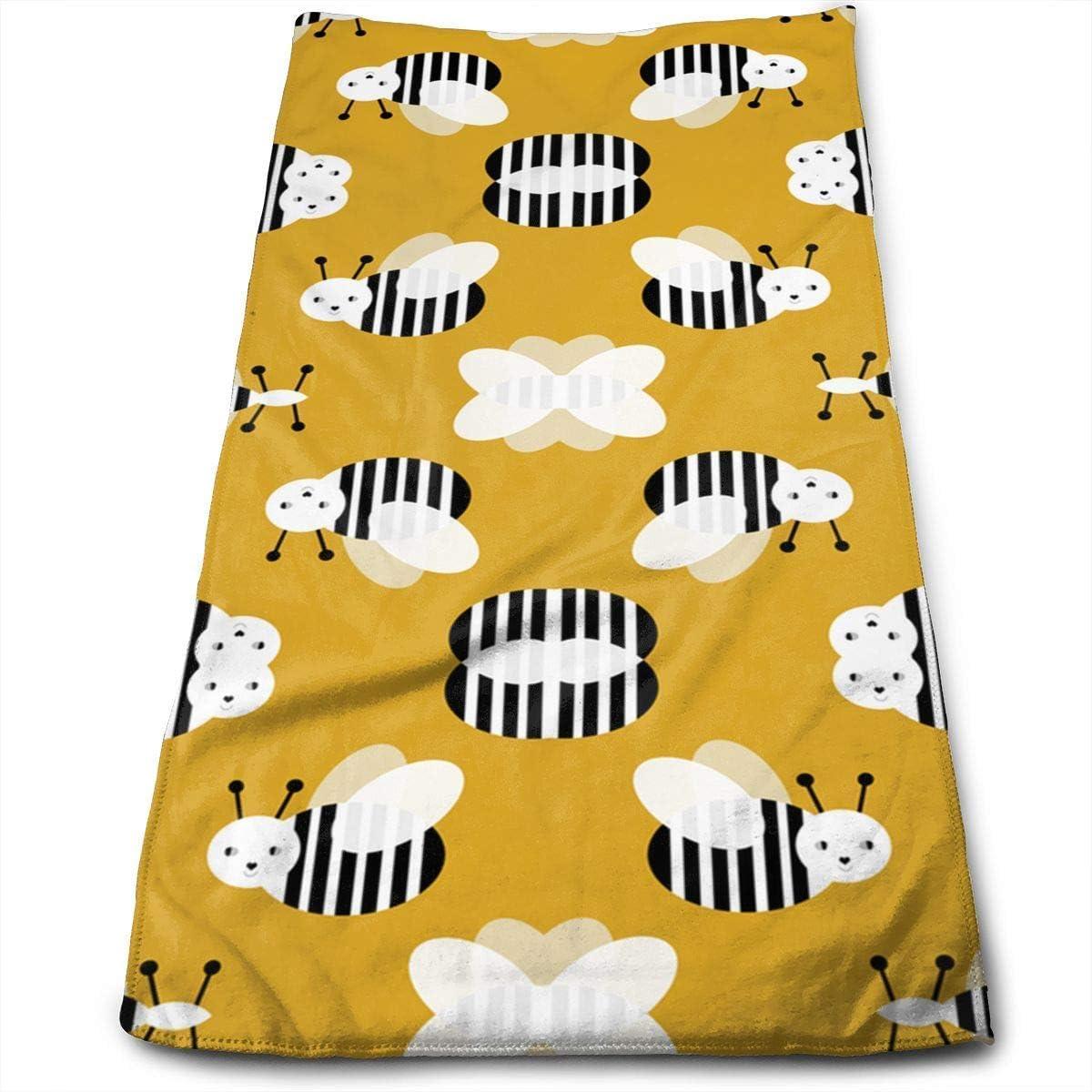 IMERIOi Toalla de Mano, Bumble Bee Garden Summer Cute Stripes 100%, Resistente a la decoloración, Altamente Absorbente, Lavable a máquina, Calidad del Hotel, Absorbente Suave para