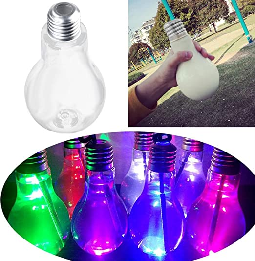 Light Bulb Water Bottle Clear Beverage Cute Milk Juice Innovative Cup Leak-proof