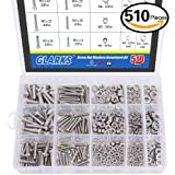 Glarks 510 Pieces Pan Head Stainless Steel Screws Nuts Lock and Flat Gasket Washers Assortment Kit