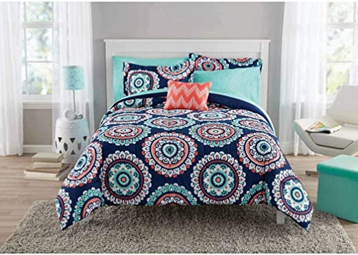 Amazon Com Na 8 Piece Girls Navy Blue Coral Medallion Comforter