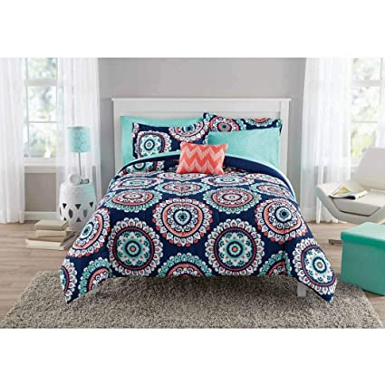 DP 8pc Girls Navy Blue Coral Medallion Comforter Sheet Set Full Sized,  Polyester, Teal Blue Color Mandala Bohemian Circular Pattern Kids Bedding,  ...