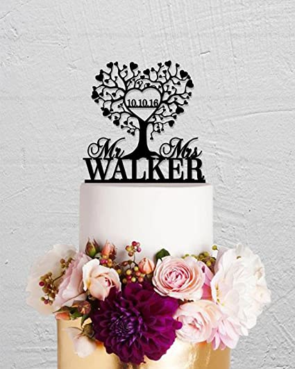 amazon com love tree wedding cake topper mr and mrs name