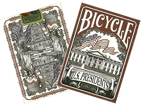 Bicycle US Presidents Poker Size Standard Index Playing Cards (Colors may vary)
