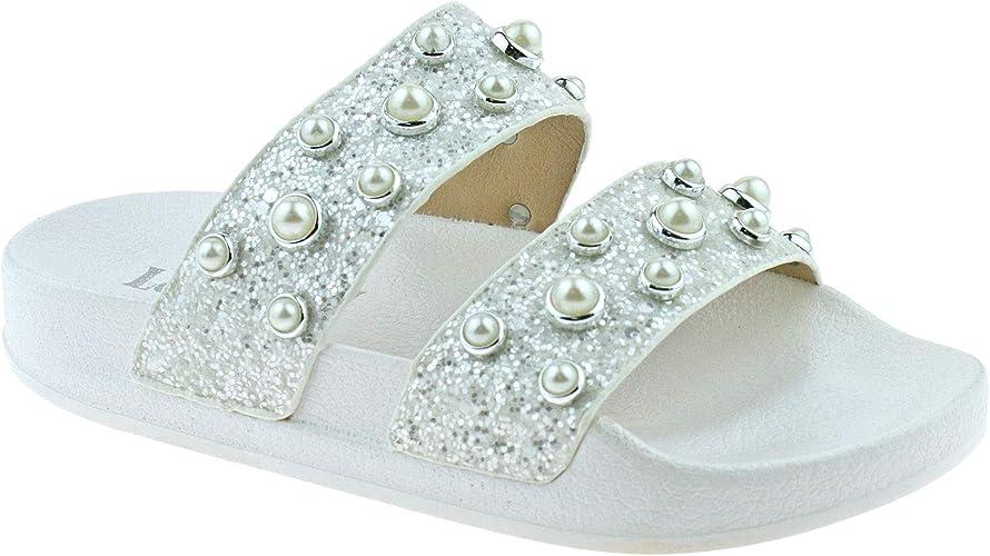 Lelli Kelly LK9912 Ginerva Bianco Glitter Slider Sandals AA01