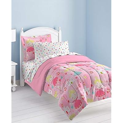 Dream Factory Pretty Princess Ultra Soft Microfiber Girls Comforter Set, Pink, Twin: Home & Kitchen