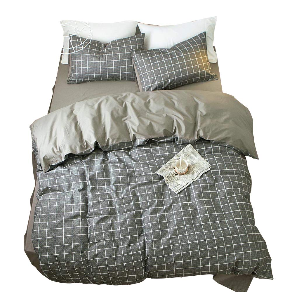 AMWAN Grey Plaid Queen Duvet Cover Set Cotton Reversible Bedding Cover Set for Men Boys Modern Hotel Luxury Bedding Set Full 3 Piece Bedding Collection 1 Duvet Cover 2 Pillowcases Queen Bed Set