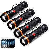 Förpackning med 4 ficklampor, Fulighture LED standardfacklor mini ficklampor zoombara, 2 lägen 70 lumen, justerbart…