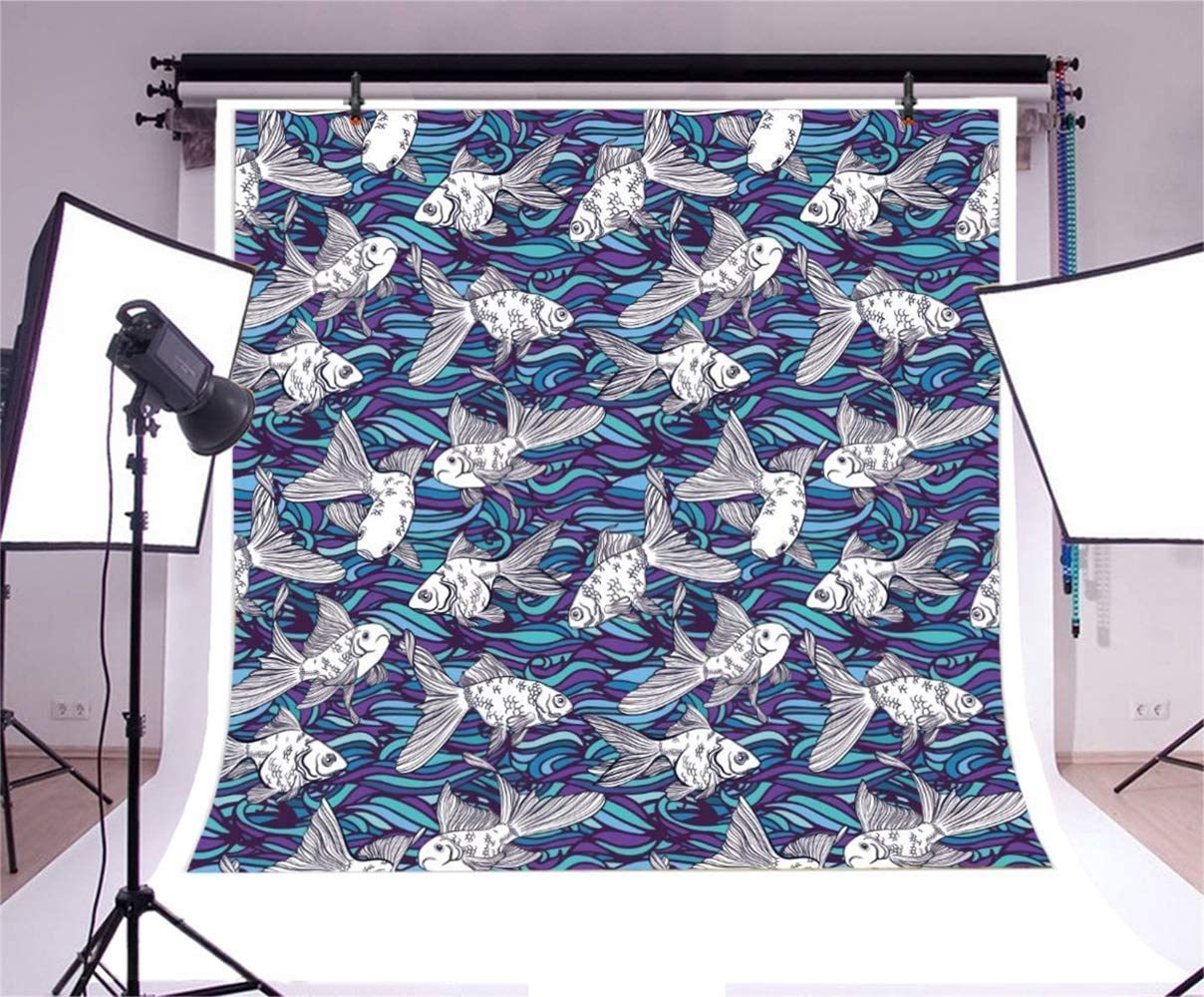 10x10ft Cartoon Plain Goldfish Blue Wave Illustration Vinyl Photography Background Novelty Backdrop Personal Artistic Portrait Shoot Living Room Decors Wallpaper Studio Props