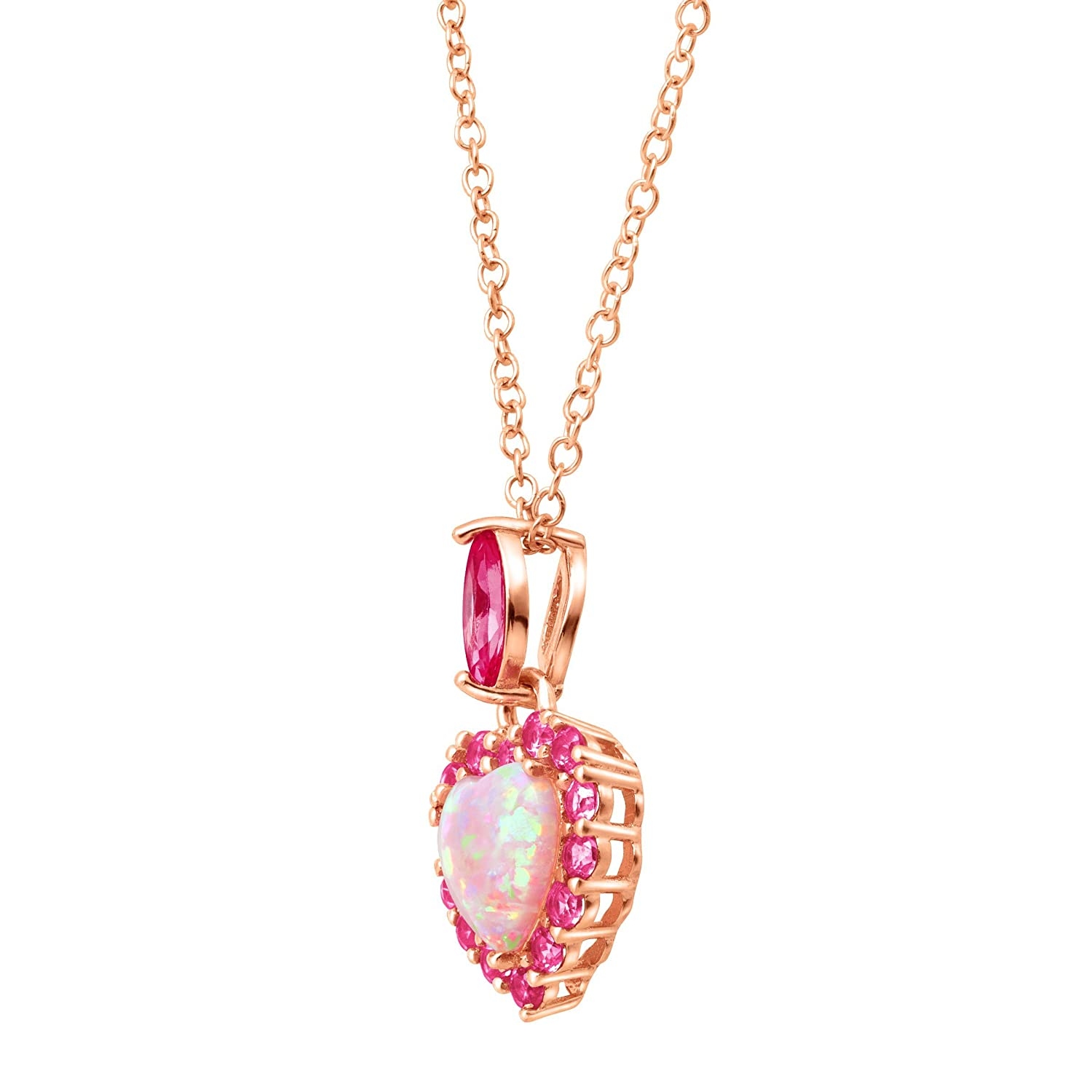 1 ct Created Opal Pink Sapphire Heart Pendant Necklace in 18K Rose Gold-Plated Sterling Silver