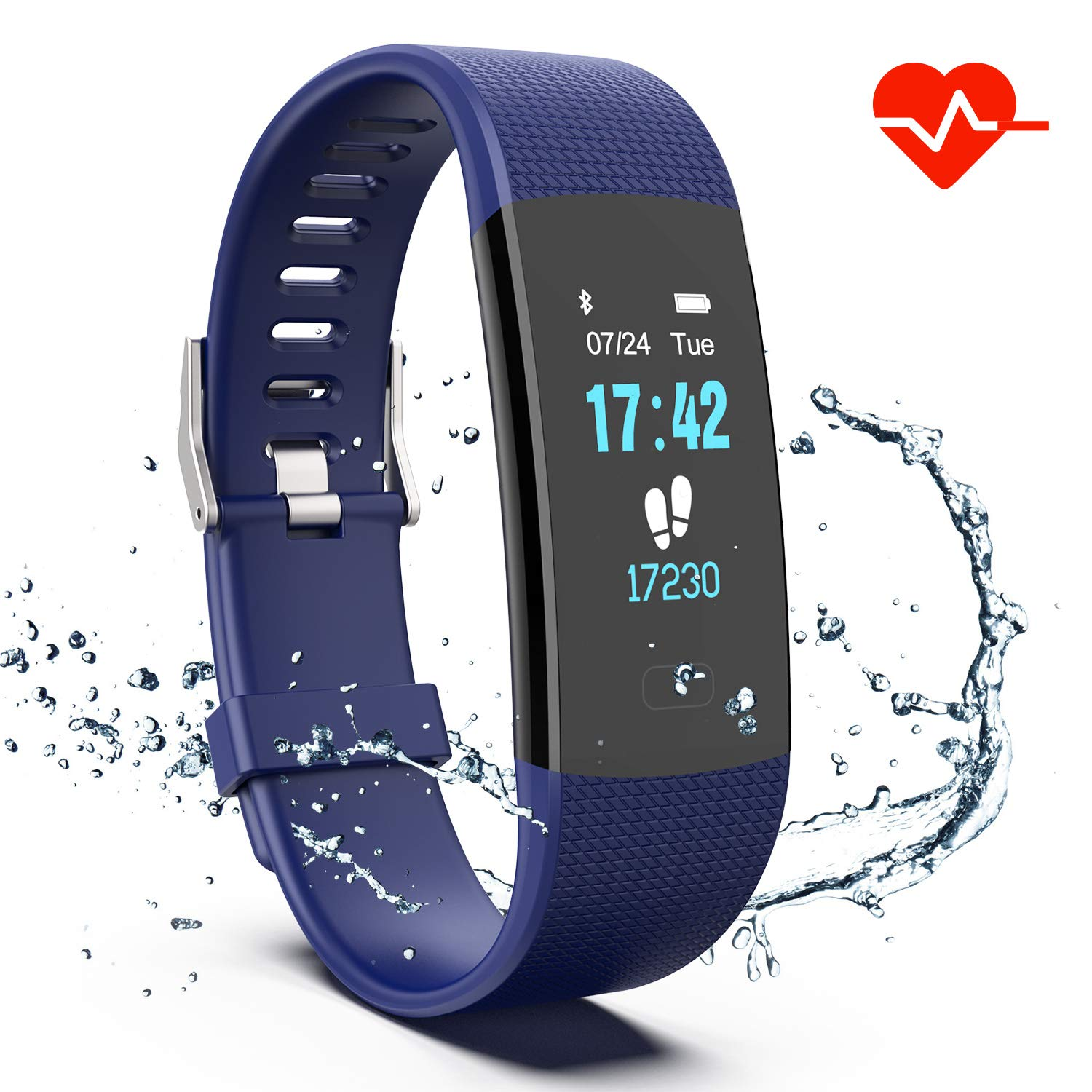 Fitness Tracker Colorful Activity Tracker Watch with Heart Rate Monitor Pedometer IP67 Waterproof Sleep Monitor Step Counter for Kids Women and Men