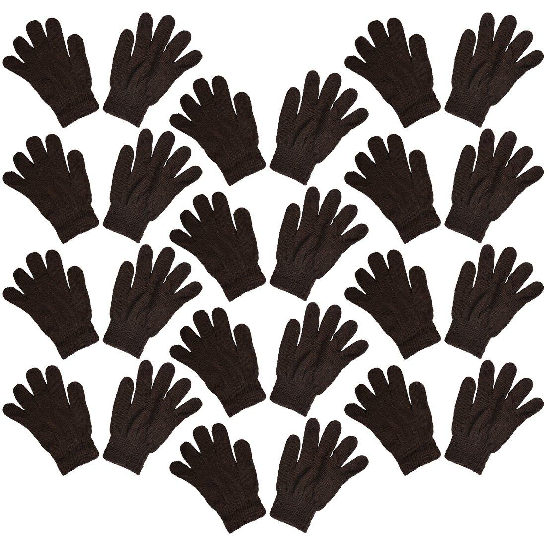 Set of 12 Warm Knit Gloves Unisex Lots of Styles - Dusty Brown Knit