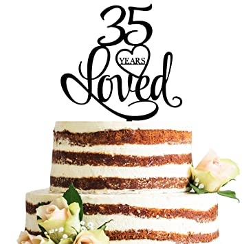Amazon Com Black Acrylic 35 Years Loved Cake Topper 35th Birthday