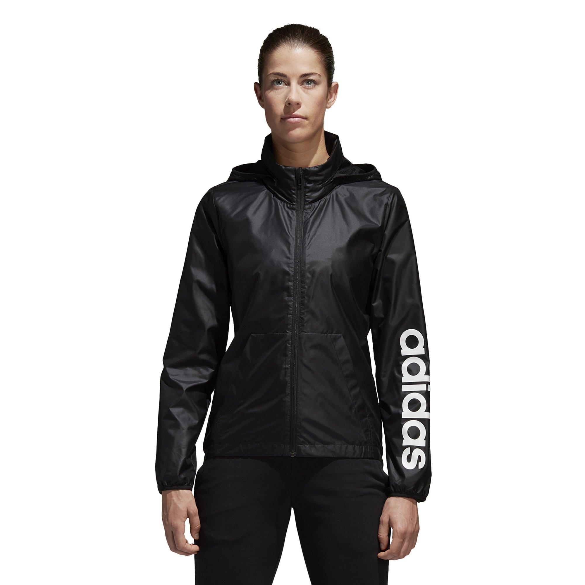 adidas Women's Linear Windbreaker Jacket, Black, Large by adidas (Image #4)