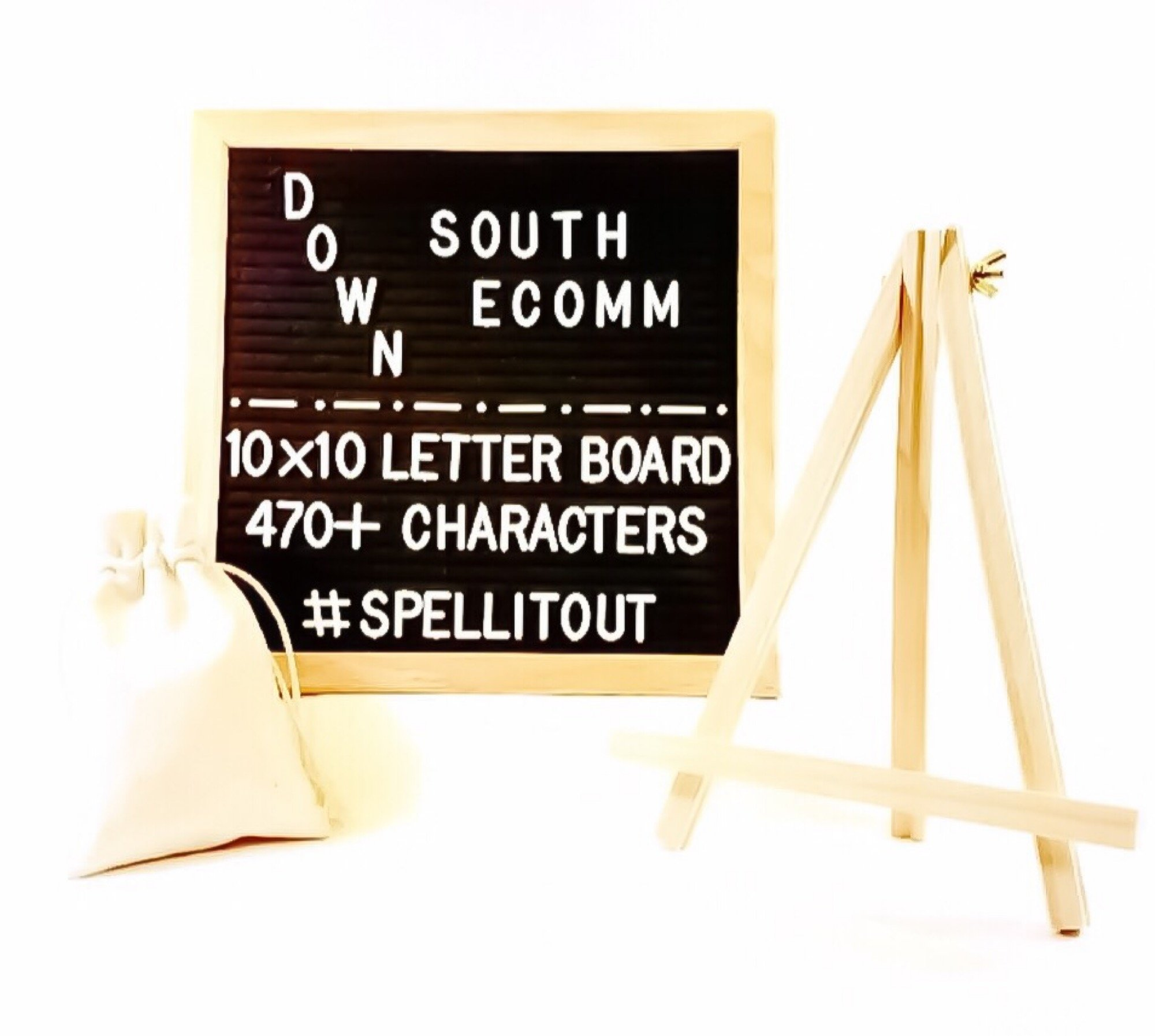 Black Felt Letter Boards 10 x 10 with 470 Letters,Numbers, and Symbols. Changeable Letters with Paintable Oak Wood Frame. Includes Mounting Hook, Free Canvas Bag, and Tripod Stand. Great gift set