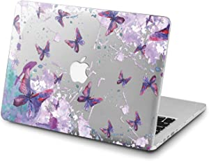 Lex Altern Clear Case for Apple MacBook Air 13 Mac Pro 15 inch Retina 12 11 2020 2019 2018 2017 2016 Touch Bar Butterfly Cover Girly Shell Protective Painted Watercolor Laptop Cute Fairytale Design