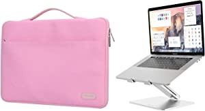 "ProCase 14-15.6 Inch Laptop Sleeve Case Protective Bag for MacBook Pro 16""/14"" 15"" 15.6"" Dell Lenovo HP Samsung Sony Chromebook Bundle with Metal Laptop Stand, Ergonomic Aluminum Laptop Holder"