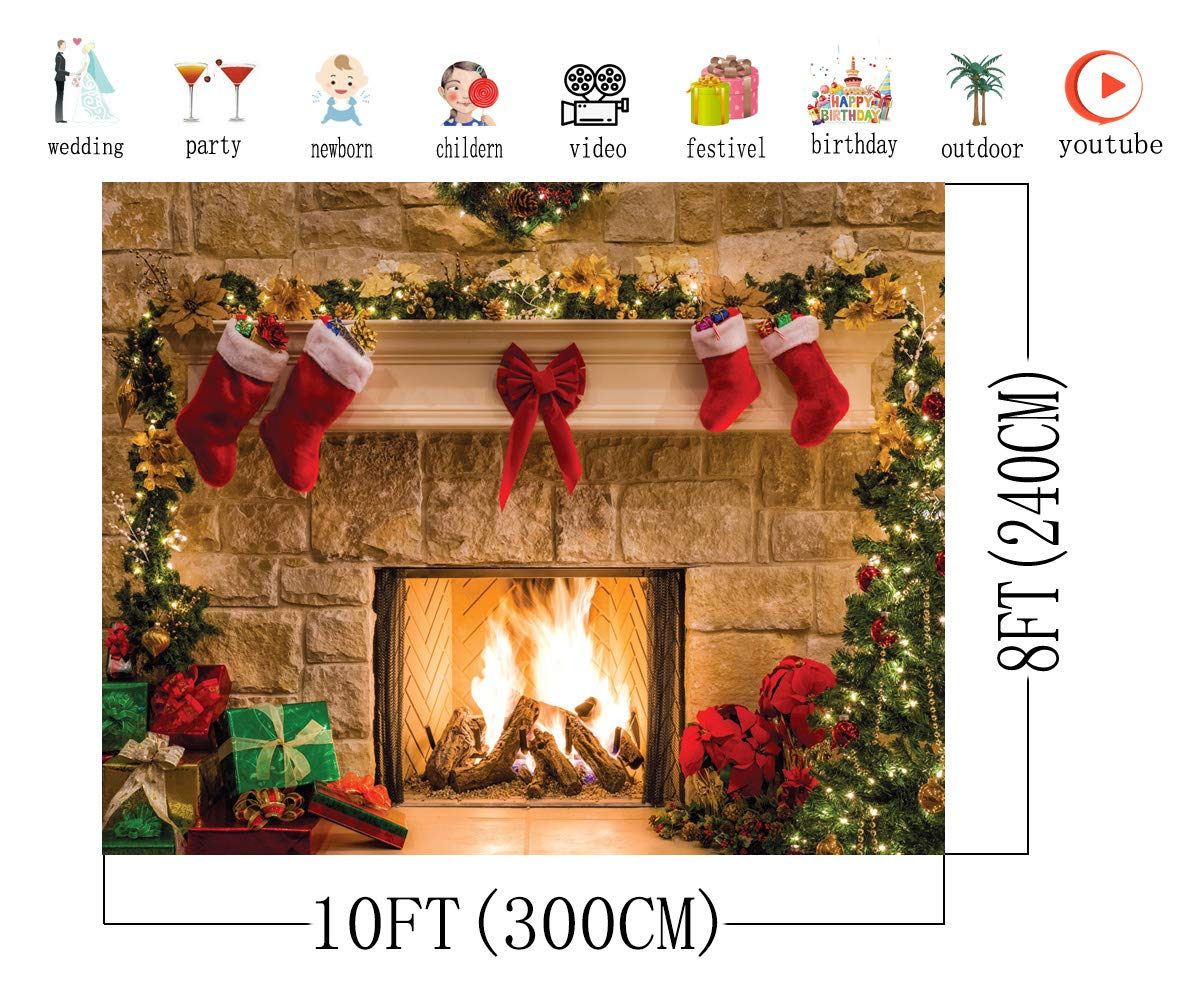 AIIKES 7x5FT Merry Christmas Backdrop Tree Sock Gift Family Party Decorations Backdrops Happy New Year Xmas Fireplace Theme Photography Background Pictures Banner Studio Decor Booth Props 11-209