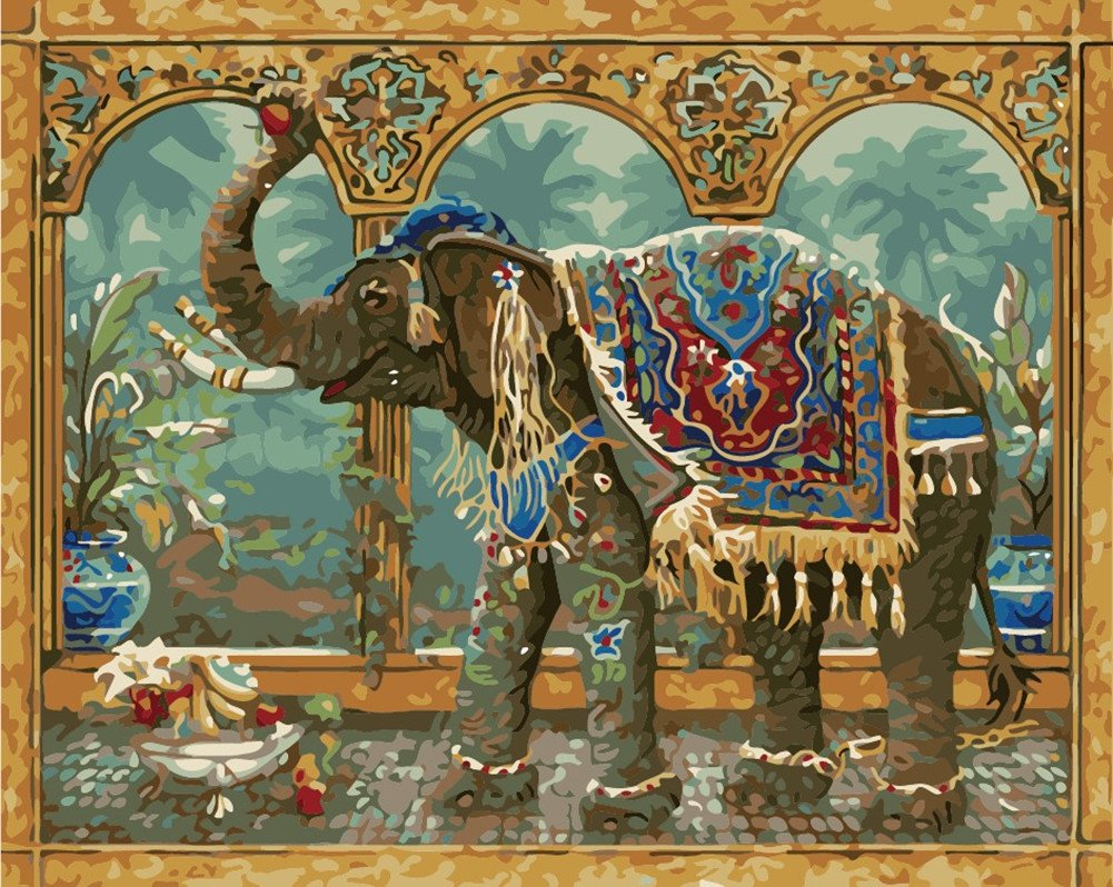 Elegant Happy Elephant DIY Canvas Painting Number Kit Kids Adults Brushes 16x20
