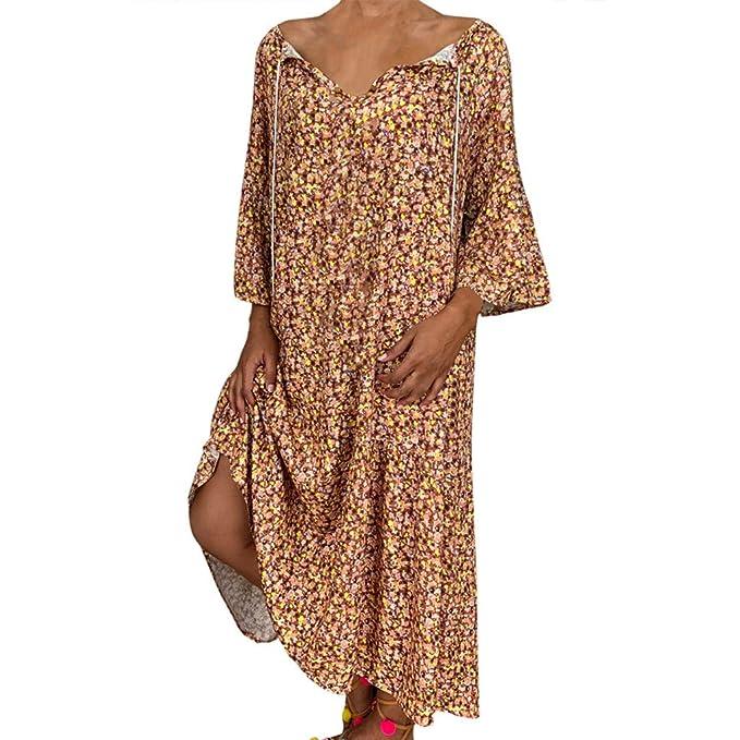Boho Women Long Sleeve V Neck Butterfly Print Casual Loose Top Baggy Mini Dress