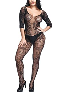 e7100a2f13f1b Amazon.com: LOVELYBOBO 2 Pack Crotchless Fishnet Bodystocking Plus ...