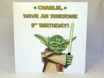 Personalised Star Wars Yoda Birthday Card Amazon Co Uk Office Products