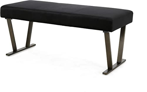 Christopher Knight Home Hedy Modern Velvet Bench with Brushed Brass Metal Legs, Black, Antique